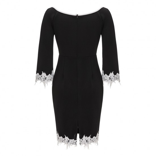 Flare Sleeve Crochet Trimmed Body-con Dress WC-300  image