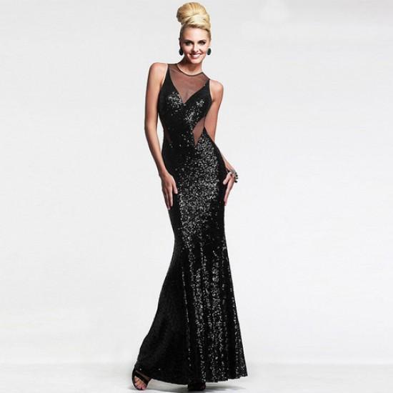 Beautiful Black Sequin Mermaid Style Cocktail Dress WC-313BK |image