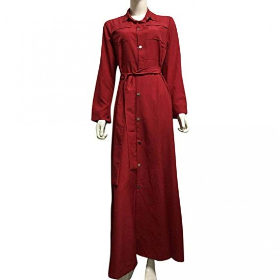Elegant Full Sleeves Red Long Casual Dress WC-308RD |image