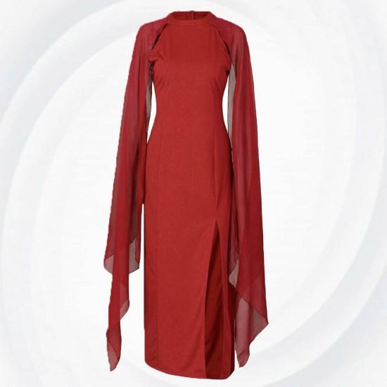 Long Open Sleeved High Slit Plain Chiffon Dress WC-306RD |image