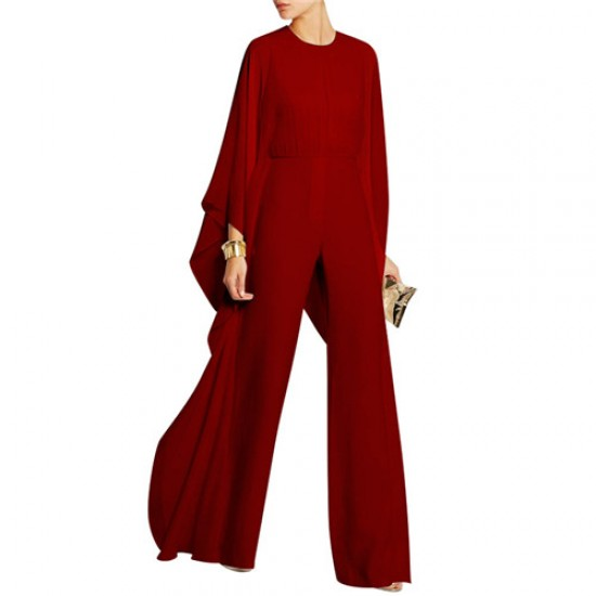 Solid Cape Sleeve Hollow Out Chiffon Wide-Leg Jumpsuit WC-329RD | Image
