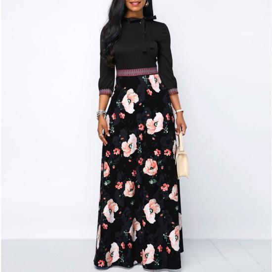 Black Band Waist Tie Neck Floral Maxi Dress WC-334 | Image