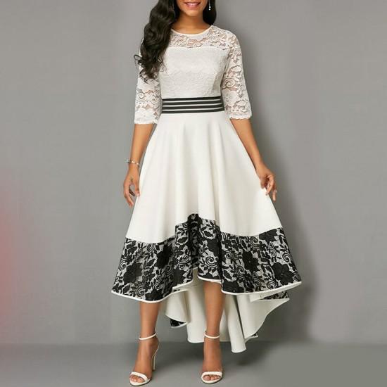Knee Length Lace Panel White Asymmetric Hem Dress WC-336W |image
