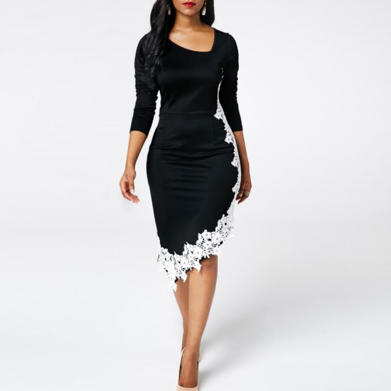 Oblique Collar Lace Stitching Irregular Bodycon Dress WC-341 | Image