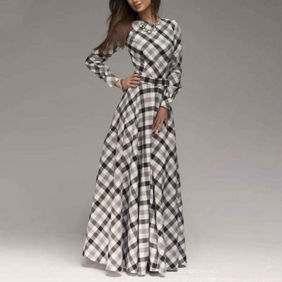 Round Neck Plaided Long Sleeves Maxi Dress Wc-342 |image