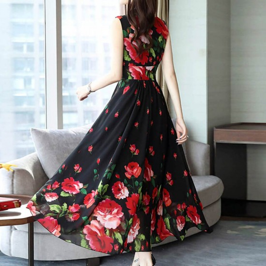 2019 Summer Emerald Flower Print Chiffon Long Dress WC-355BK | Image