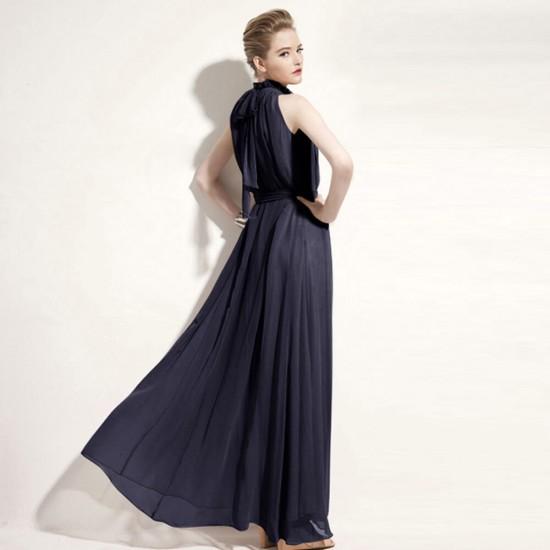 Bohemian Round Neck Black Long Chiffon Dress WC-361BK |image