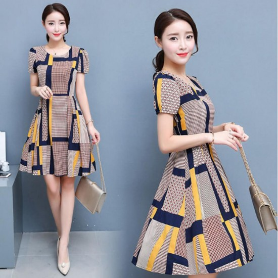 Latest Design Square Printed Slim Mini Dress WC-374 | Image