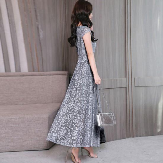 Summer Bow Knot Paragraph Long Lace Dress WC-357GR |image
