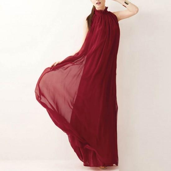 Bohemian Round Neck Maroon Long Dress WC-361MR |image