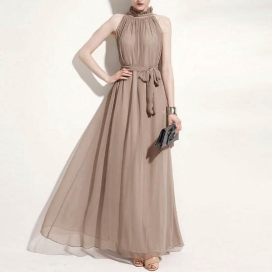 Bohemian Round Neck Grey Chiffon Long Dress WC-361GR  image