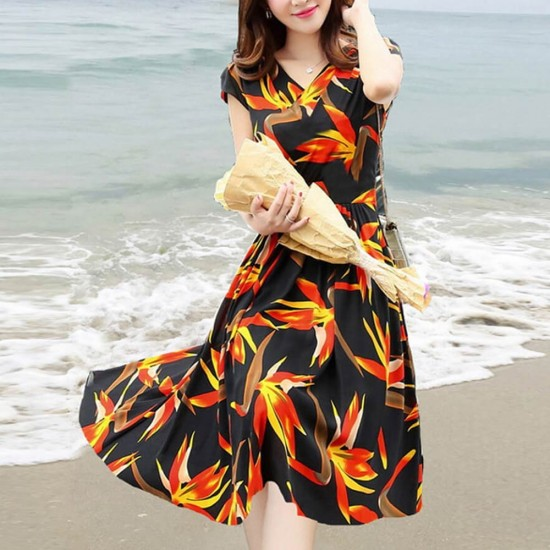 Flaming Floral Print Summer Beachwear Midi Dress WC-384 |image