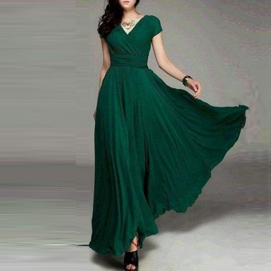 Bohemian Nipped Waist Short Sleeves Maxi Dress WC-388GN |image