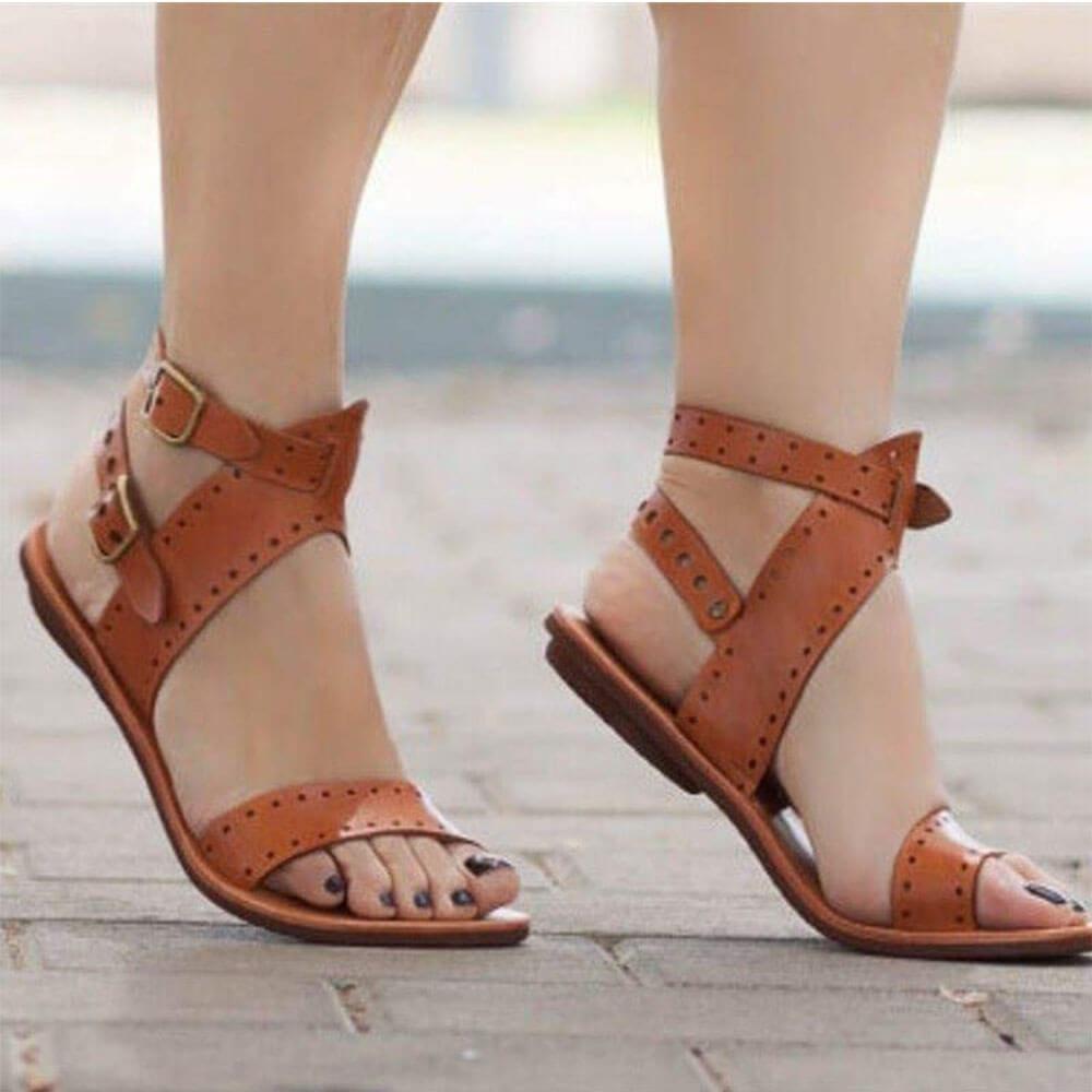 open toe buckle sandals
