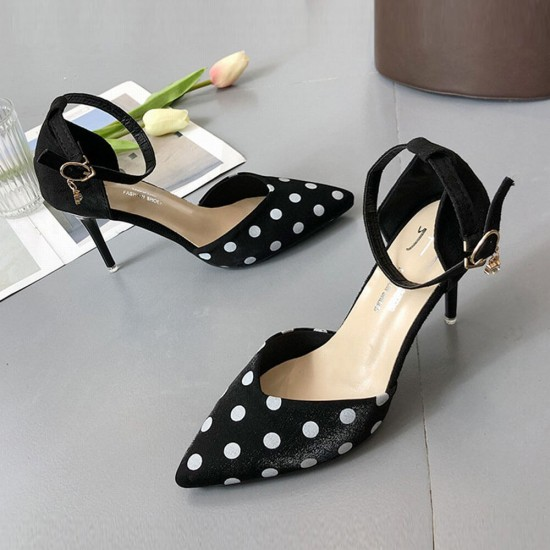 High Heeled Black Sweet With White Dots Pointed Shoes S-195BK |image