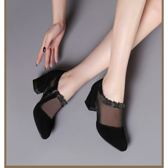 Round Head Breathable Mesh Lace Mid Heel Shoes S-203 |image