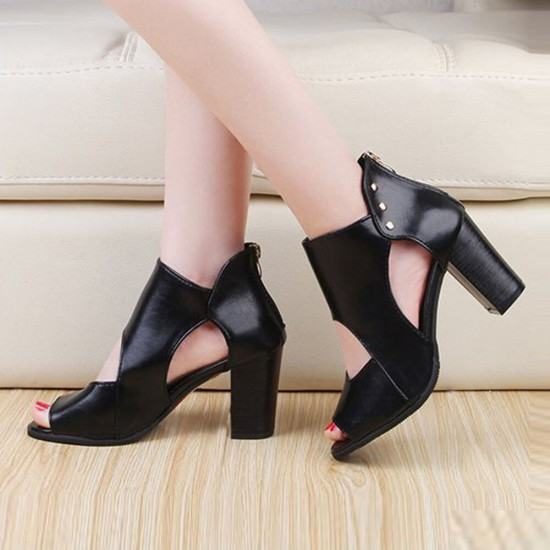 New Roman Style High Heels Soft Leather Sandal Shoes S-206BK |image