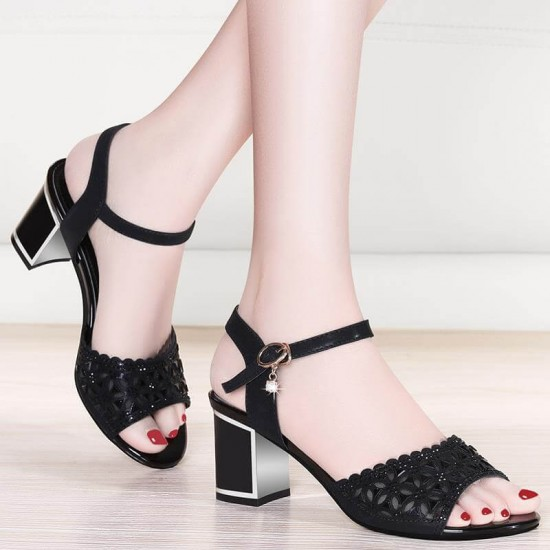 New Style Open Toe Thick High Heel Women Sandals S-209BK  image