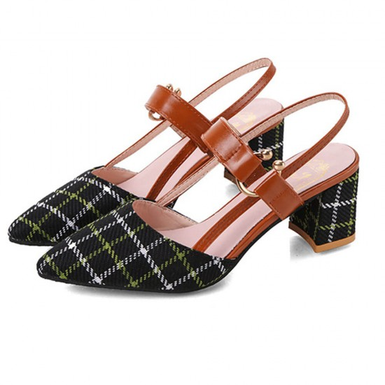 Black One Word High Heeled Pointed Women Sandals S-220BK | Image