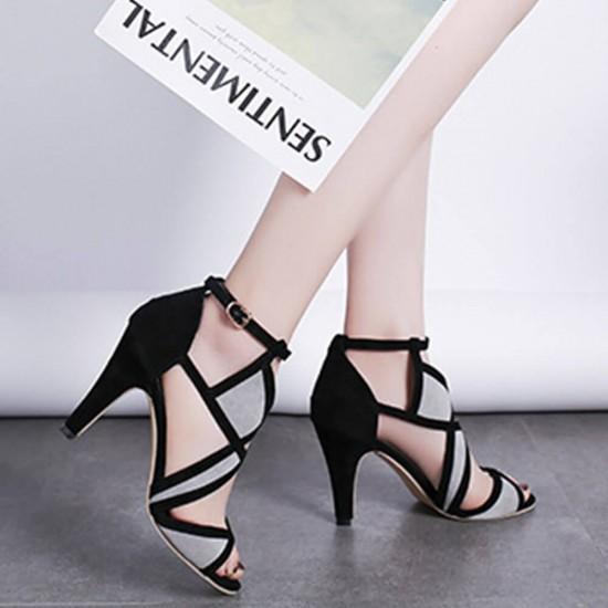 Roman Style Stiletto Hollow Black High Heel Sandals S-221   Image