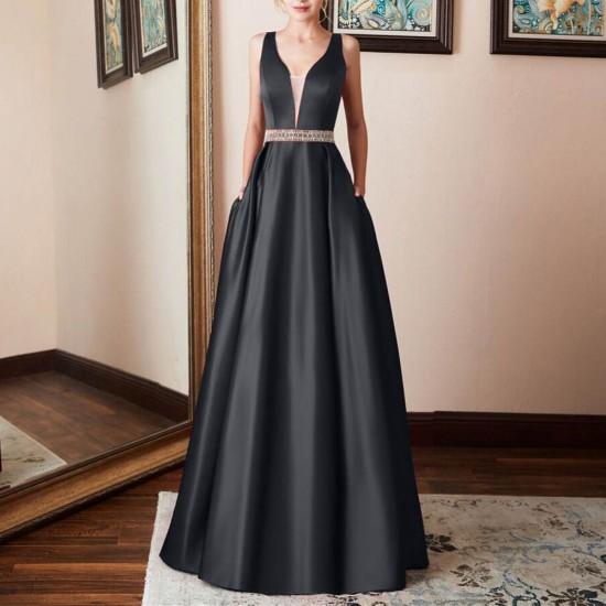 Prom Gown Sleeveless Black Halter Evening Dress WC-390BK |image