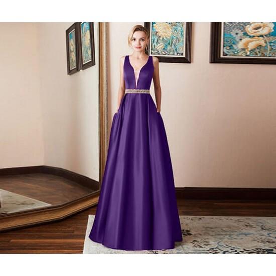 Prom Gown Sleeveless Purple Halter Evening Dress WC-390PR  image