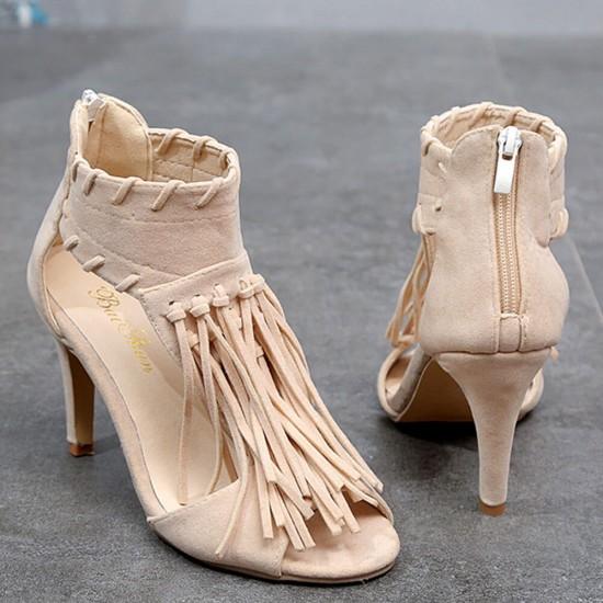 Long Tassel Roman Style High Heel Sandals S-197CR |image