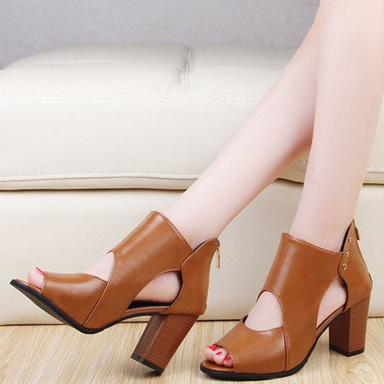 New Roman Style High Heels Soft Leather Sandal Shoes S-206BR |image