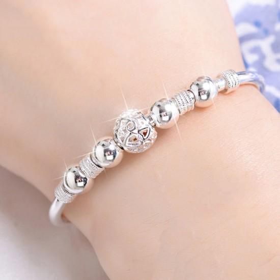 White Copper Silver Plated Running Bead Bracelet B-06 |image