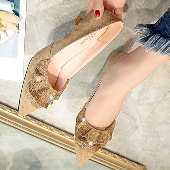 Rhinestone Designed Cute Pencil Heel Pointed Shoes S-190BR |image