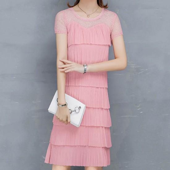 Ruffled Tiered Fairy Short Sleeve Midi Dress WC-396-Pink |image