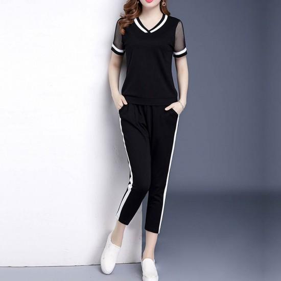 Women Sports Wear Short Sleeve Leisure Suit WC-400-Black |image