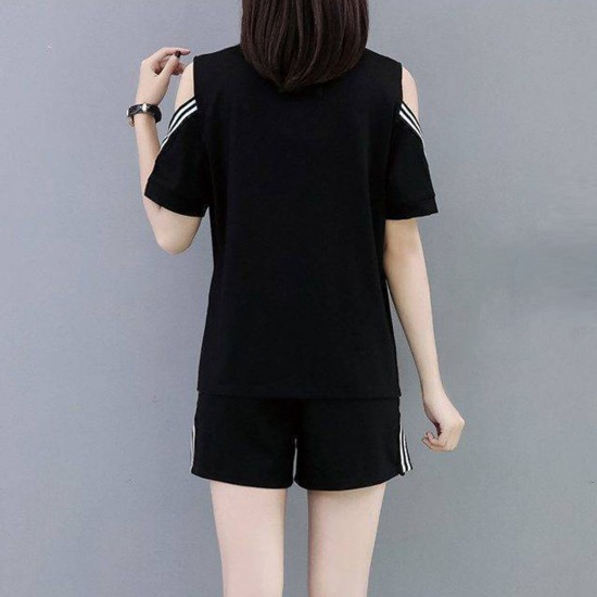 Women Casual Sports Wear Short Sleeve Jumpsuit WC-401-Black |image
