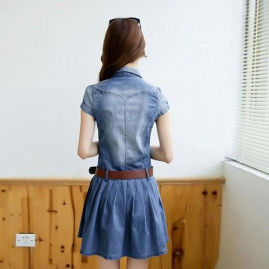 European Slim Short Denim Skirt Mini Dress WC-428-Blue   Image