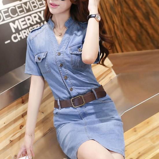 Slim Fit Short Sleeves Hip Split Fork Long Denim Skirt WC-429- Light Blue | Image