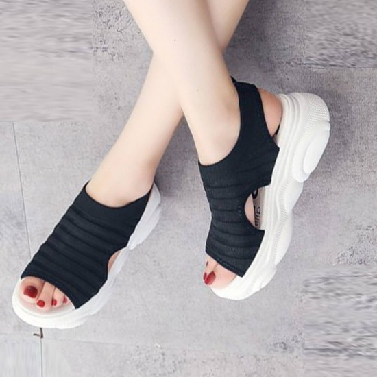 Thick Bottom Relaxing Open Toe Sports Sandals S-227BK | Image