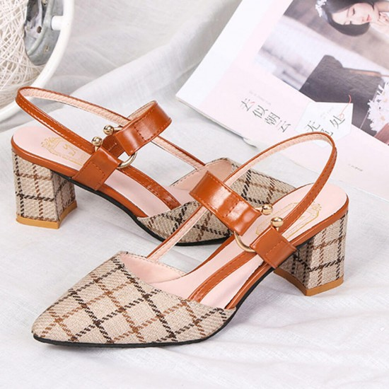 Brown One Word High Heeled Pointed Women Sandals S-220BR |image