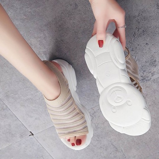 Cream Thick Bottom Relaxing Open Toe Sports Sandals S-227CR |image
