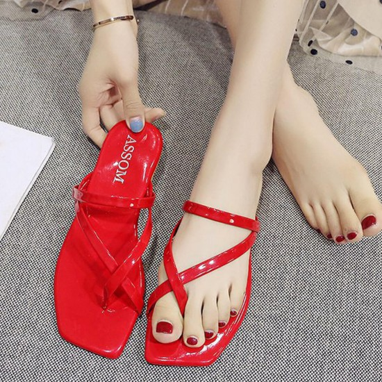 Square Head Flat Bottom Formal Beach Sandals S-258 - Red |image
