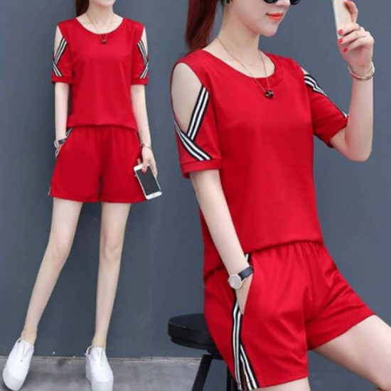 Women Casual Sports Wear Short Sleeve Jumpsuit WC-401-Red |image