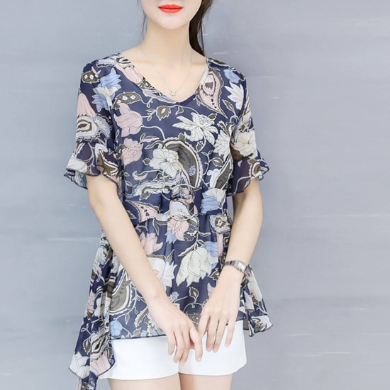 Floral Printed Waist Buckle Blouse Shirt WC-440 - Blue   Image