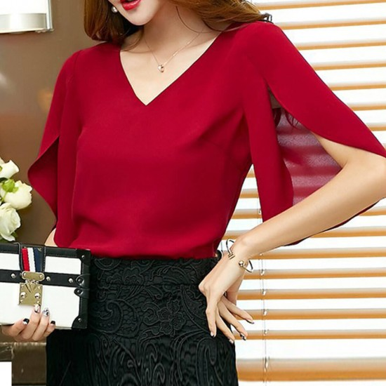 V-Neck Loose Ruffled Wild Chiffon Shirt- Red   Image