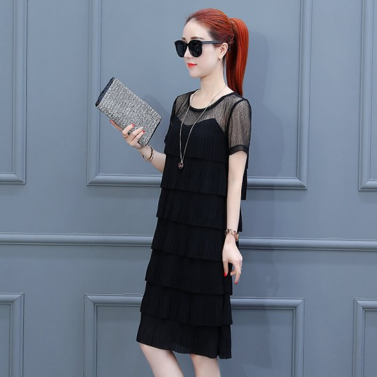 Ruffled Tiered Fairy Short Sleeve Midi Dress WC-396-Black |image
