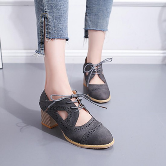 Summer Carved Leather Lace Up Oxfords Shoes For Women S-219GR |image
