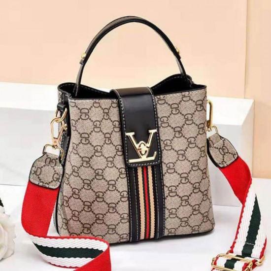 Designer Print Twist Lock Contrast Shoulder Handbag - Black | Image