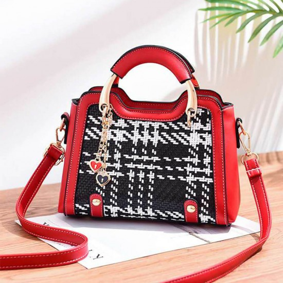 Plaided Contrast Hearts Hanging Chain Messenger Bag- Red | Image
