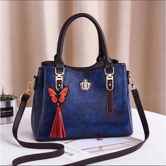 Butterfly Tassel Hanging Tote Shoulder Handbag - Blue | Image