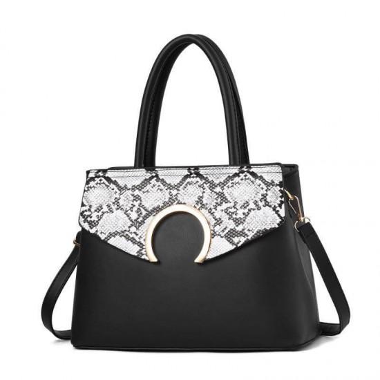 Snake Pattern Zip Closure Shoulder Handbag - Black | Image