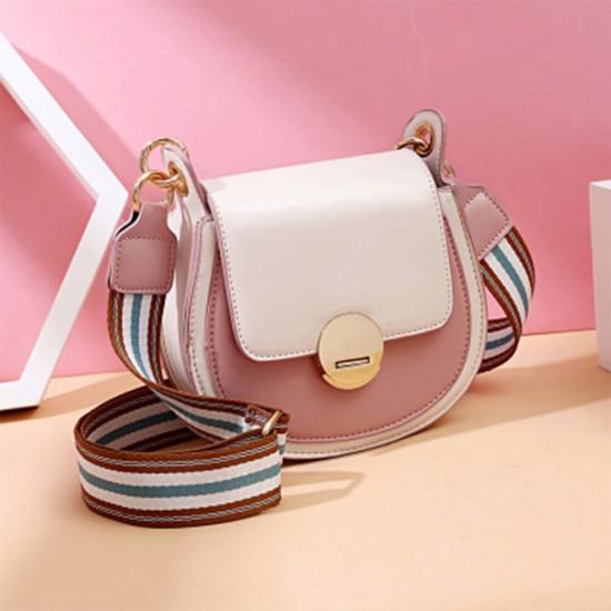 Contrast Round Twist Lock Messenger Bag - Pink   Image