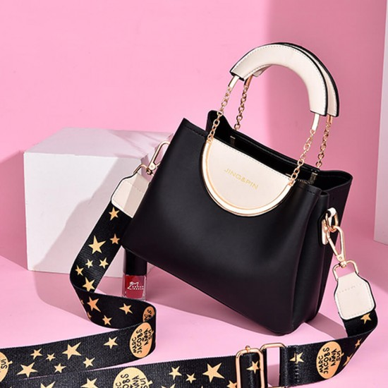 Chain Hand Straps Contrast Casual Bucket Handbag - Black | Image